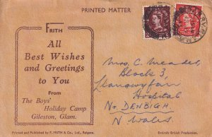 The Boys Holiday Camp Gileston Glamorgan Lettercard Postcard