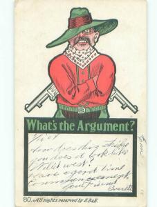 Pre-Linen Comic WESTERN COWBOY WITH GUNS DRAWN AB8898