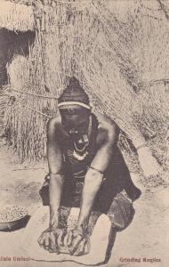 Zulu Umfazl, Grinding Mealies, Cape Town, South Africa, 1900-1910s