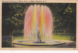 WESTERLY, Rhode Island , PU-1946; Memorial Fountain in Wilcox Park, at Night