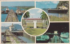 5-view postcard , Panama Canal , 40-60s