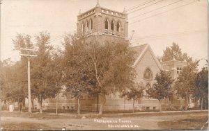 Brookings SD~12 Arch Windows in Belltower~Presbyterian Church~1911 Sepia RPPC