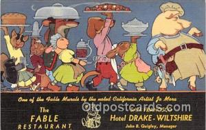 Fable Restaurant Advertising Postcard Post Card Hotel Drake Wiltshire, San Fr...
