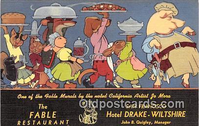Fable Restaurant Advertising Postcard Post Card Hotel Drake Wiltshire, San Fr...