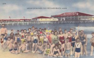 OLD ORCHARD Beach, Maine, 1930-40s; Group of Bathers