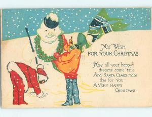 Pre-Linen christmas KIDS HANG WREATH ON SNOWMAN NECK AS NECKLACE HQ6251