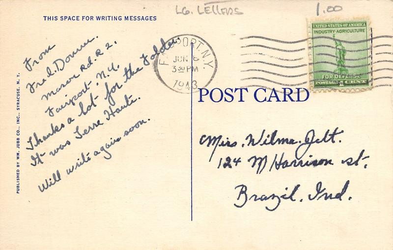 Finger Lakes New York~Large Letter Linen Postcard~Sailboats~Pennants~1943 PC