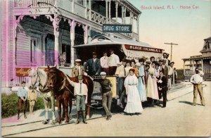 Block Island RI Rhode Island Horse Car Postcard E64