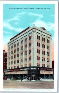 Norfolk, Virginia Postcard VIRGINIA ELECTRIC POWER BUILDING Street View c1940s