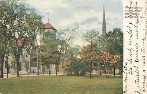 Evanston Illinois~Presbyterian and Baptist Churches~1909 Postcard