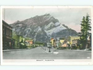 old rppc SHOPS ALONG STREET Banff Alberta AB W0836