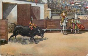 Corrida Spain Bullfight Toreador Matador signed Garcia Rodriguez Salida del toro