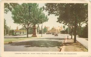 Vintage Postcard St. Kilda Road Princess Bridge Street Melbourne Australia