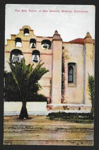 Bell Tower San Gabriel Mission CA Unused c1910s