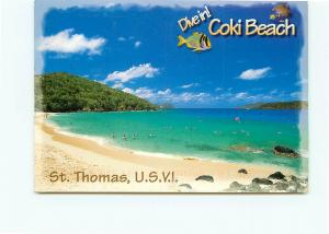 Postcard Coki Beach St Thomas US Virgin Islands Carribean Waters Iguana  # 3874A
