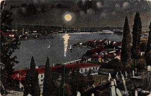Turkey Istanbul Constantinople Corne d'or, Golden Horn Moonlight Panorama