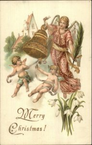 Christmas - Angel Holding Gold Bell - Cherubs Gilt Embossed c1905 Postcard