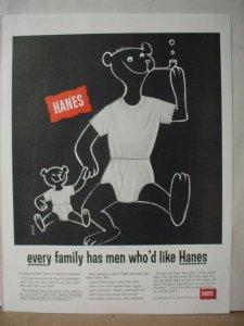 1955 Hanes Men's Underwear Full Page Papa and Bear Cub Vintage Print Ad 10526
