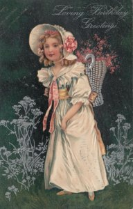 BIRTHDAY, PU-1909; Girl with bonnet, basket with flowers, PFB 7046