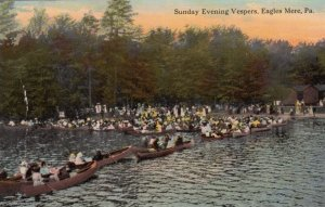 EAGLES MERE, Pennsylvania, 1900-10s; Sunday Evening Vespers, People in Canoes