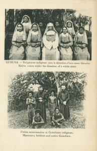 PC CPA PAPUA NEW GUINEA, MISSIONARY BROTHERS AND NATIVES, Postcard (b19763)