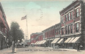 G24/ Wilmington Ohio Postcard 1909 Kraemer Art South St Stores