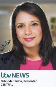 Balvinder Sidhu ITV Central News Newsreader Hand Signed Cast Card Photo