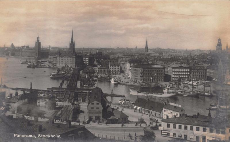 STOCKHOLM SWEDEN PANAORAMA REAL PHOTO POSTCARD c1910s