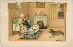 PC CPA PAULI EBNER, ARTIST SIGNED, FAMILY AND DOG, Vintage Postcard (b27552)