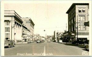 1947 WALLA WALLA, Washington RPPC Real Photo Postcard STREET SCENE Ellis #2964
