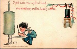 VINTAGE - Cupid said, artist Curtis, 1900-1907 Undivided Back Postcard R. Tuck