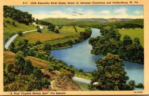 West Virginia Parkersburg/Charleston Little Kanawha River Scene Route 14 1943...