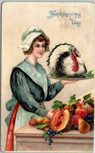 Vintage THANKSGIVING Postcard Pilgrim Woman / Live Turkey on Platter 1910 Cancel