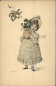 KRATKI - Little Girl w/ Potted Clovers c1910 Postcard