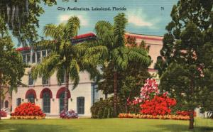 Lakeland, Florida, FL, City Auditorium, 1943 Linen Vintage Postcard f2362