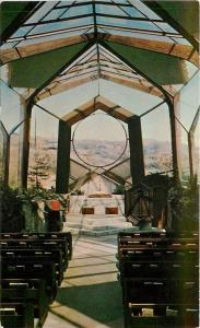 Rancho Palos Verdes, California~The Wayfarers Chapel Interior 1950s Postcard