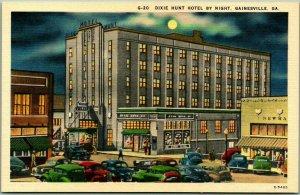 1940s Gainesville, Georgia Postcard DIXIE HUNT HOTEL by Night Linen Unused