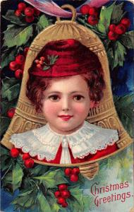 Christmas Greetings Child in Red Bell Holly Leaves Antique Postcard J65632