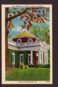 Virginia Post card  Monticello Jefferson Charlottesville