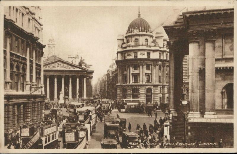 Mansion house & Royal Exchange London real Photogravure Philco