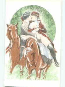 foreign c1910 Risque NUDE FRENCH WOMAN ON HORSE KISSING MAN AB7325