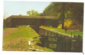 Covered Bridge Postcard Canal Lock Uhlerstown PA Bucks Co