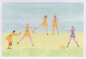 All American Girls Womens Baseball League WW2 Painting Postcard