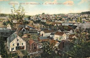 Franklin New Hampshire~Cemetery Hill Panorama of City~Homes~Backyards~1910 PC