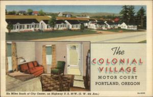 Portland OR Colonial Village Motor Court US HWY 99 Linen Postcard