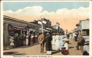 Wildwood NJ Boardwalk at Cedar Ave c1920 Postcard