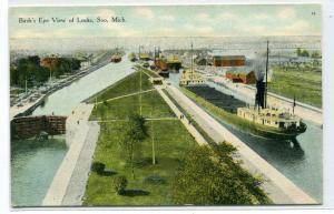 Great Lakes Freighter Steamer Locks Soo Michigan 1910c postcard