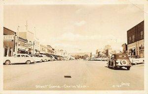 Chelan WA Street Scene Storefronts Old Cars Real Photo Postcard