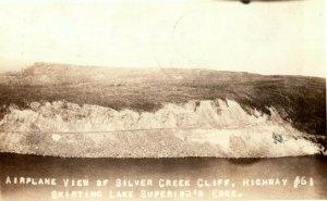 1935 Aerial View Silver Creek Cliff Lake Superior Wisconsin RPPC Photo Postcard