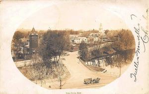 Ware MA Parks Street Birds Eye View Horse & Wagon in 1906 RPPC Postcard